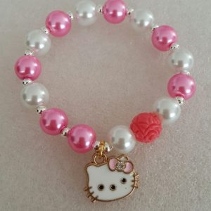 Kitten charms bracelet with glass pearl