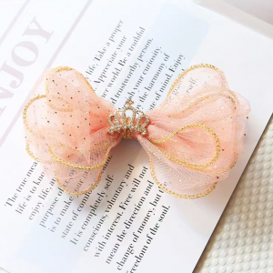 Pink Lace Crown Hair bow